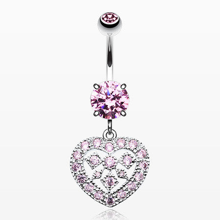 Sparkling Heart Shapes Belly Button Ring-Pink