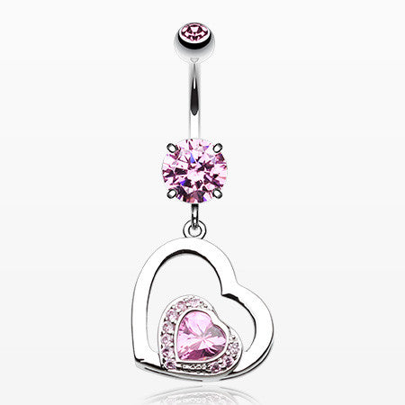 Sweet and Sparkly Heart Belly Button Ring-Pink