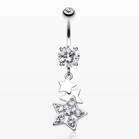 Star of Stars Belly Button Ring-Clear