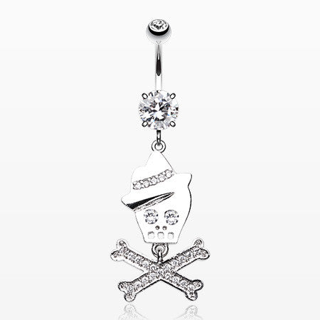 Fedora Skull & Crossbones Sparkle Belly Ring-Clear