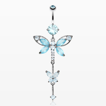 Shimmering Dragonfly Butterfly Sparkle Belly Ring -Aqua