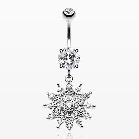Glistening Sparkle Sunburst Belly Button Ring-Clear