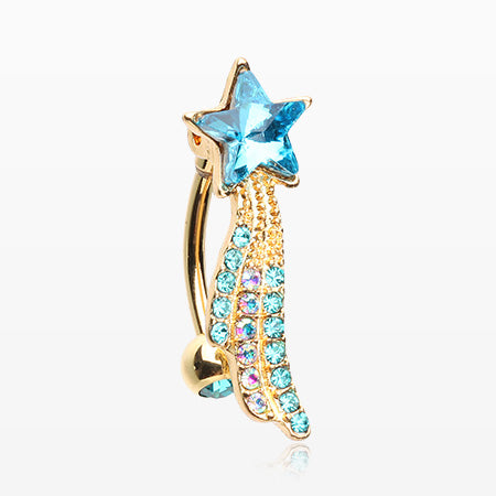 Golden Shooting Star Sparkle Reverse Belly Button Ring-Teal/Aurora Borealis