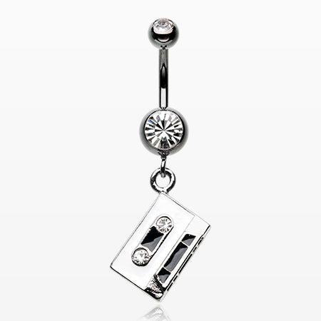 Cassette Tape Sparkle Hematite Belly Button Ring-Hematite/Clear