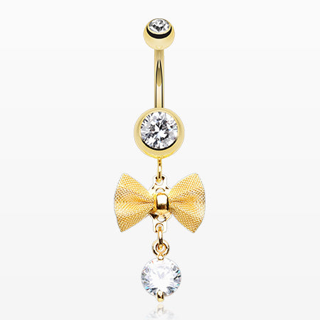 Golden Dainty Bow-Tie Belly Button Ring-Clear