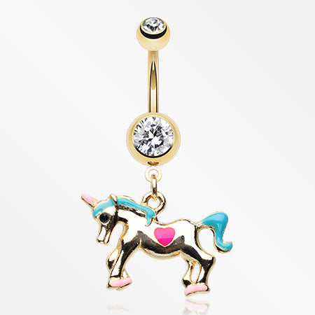 Golden Unicorn Princess Belly Button Ring-Clear