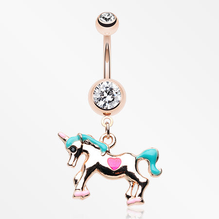 Rose Gold Unicorn Princess Belly Button Ring-Clear