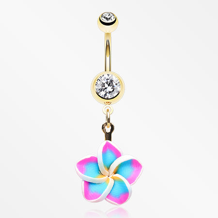 Golden Hawaiian Plumeria Flower Belly Button Ring-Clear