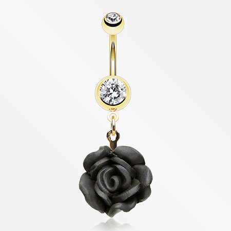 Golden Rose Blossom Belly Button Ring-Clear/Black
