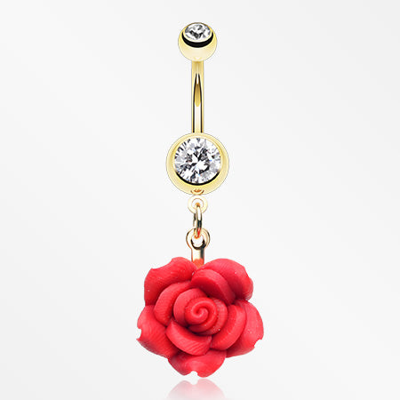 Golden Rose Blossom Belly Button Ring-Clear/Red