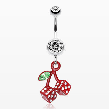 Vibrant Cherry Dice Belly Ring-Clear