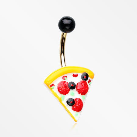 Supreme Pizza Non Dangle Belly Button Ring-Black