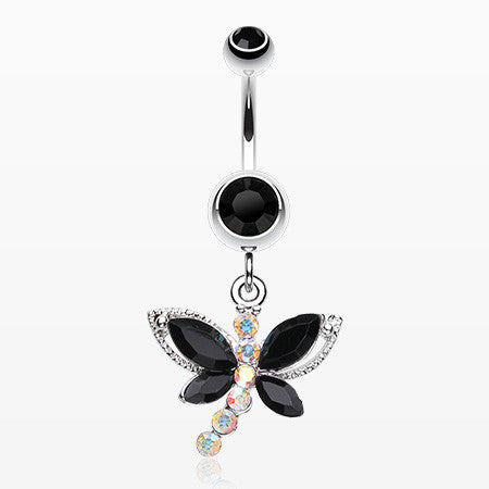 Dragonfly Glam Belly Ring-Black/Aurora Borealis