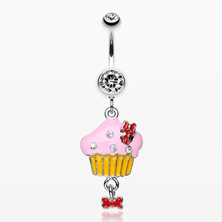 Yummy Cupcake Bow Belly Ring-Clear