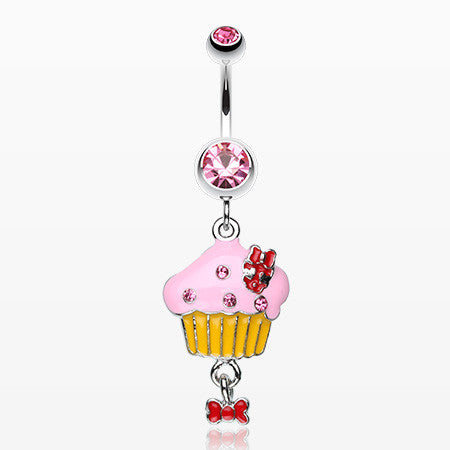 Yummy Cupcake Bow Belly Ring-Light Pink
