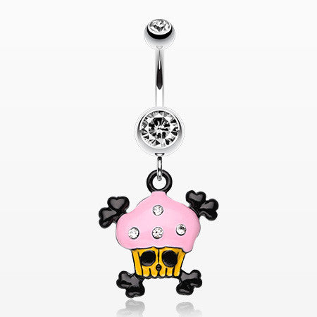 Pirate Crossbones Cupcake Belly Ring-Clear