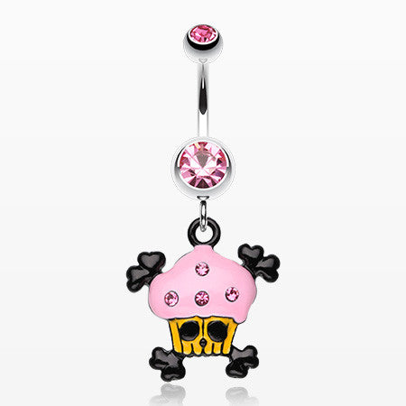 Pirate Crossbones Cupcake Belly Ring-Light Pink
