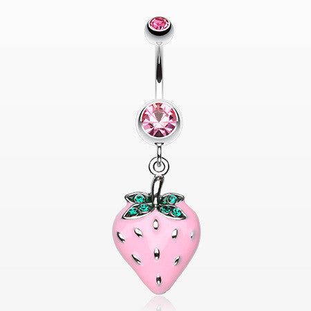 Vibrant Strawberry Dangle Belly Ring-Light Pink