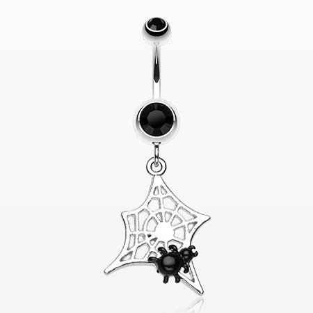 Mini Spider Cobweb Belly Ring-Black