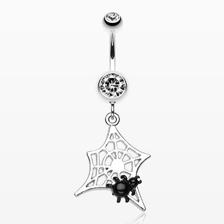 Mini Spider Cobweb Belly Ring-Clear