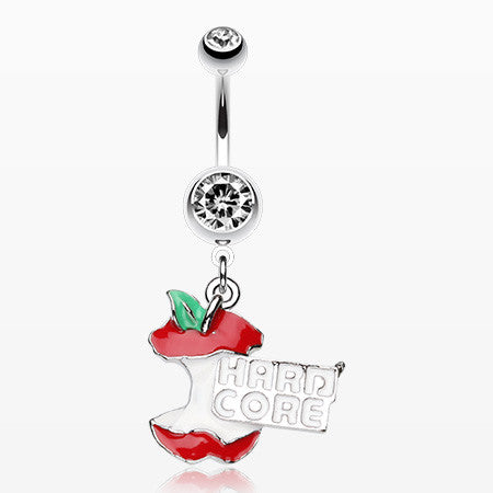 Hardcore Apple Engraved Belly Ring-Clear