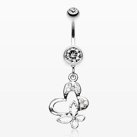 Sweet Butterfly Heart Belly Ring-Clear