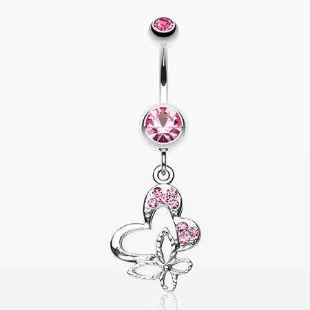 Sweet Butterfly Heart Belly Ring-Light Pink