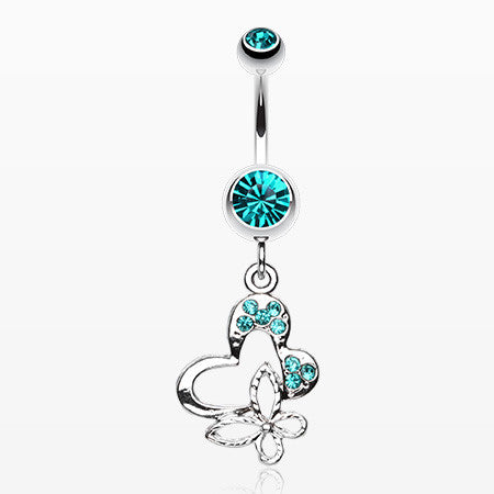 Sweet Butterfly Heart Belly Ring-Teal