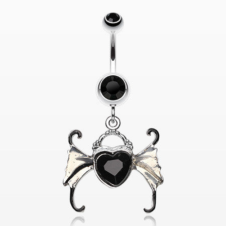 Angel Heart Wing Sparkle Belly Ring-Black