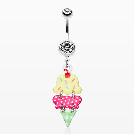 Double Scoop Ice Cream Cone Dangle Belly Ring-Clear