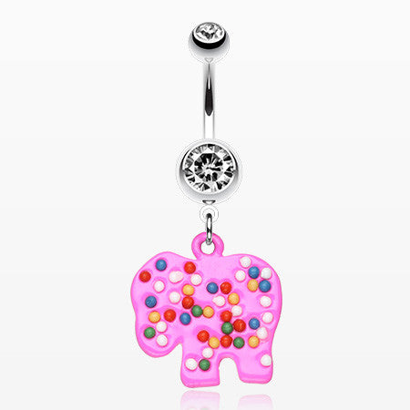 Bright Elephant Sprinkle Belly Ring-Clear/Pink