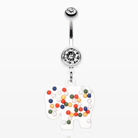Bright Elephant Sprinkle Belly Ring-Clear/White
