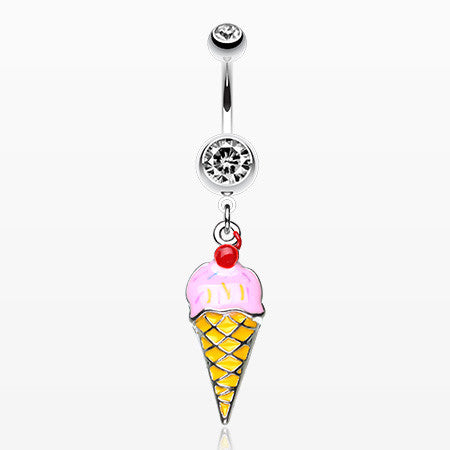 Cute Ice Cream Cone with Cherry on Top Belly Ring-Clear