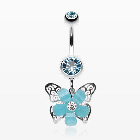 Glittered Flower Butterfly Belly Ring-Aqua