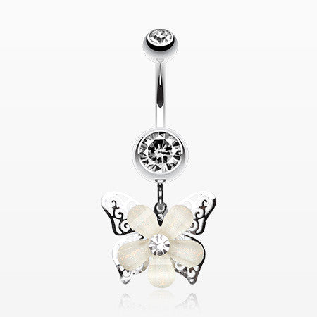 Glittered Flower Butterfly Belly Ring-Clear
