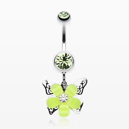 Glittered Flower Butterfly Belly Ring-Light Green