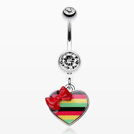 Rasta Stripe Red Bow Heart Belly Ring-Clear