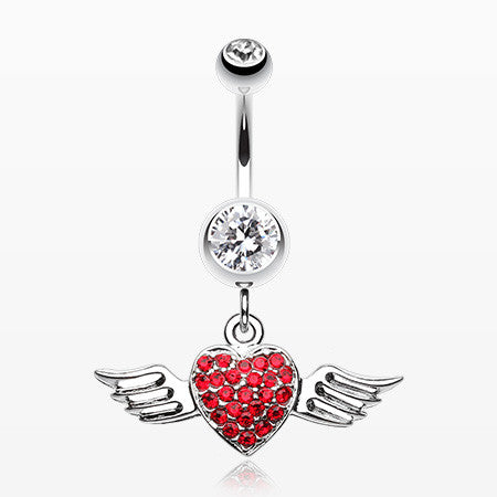 Angel Luster Heart Belly Button Ring-Clear/Red