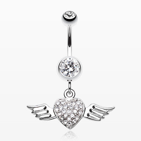 Angel Luster Heart Belly Button Ring-Clear