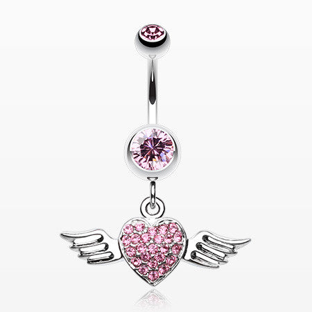 Angel Luster Heart Belly Button Ring-Light Pink