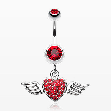 Angel Luster Heart Belly Button Ring-Red