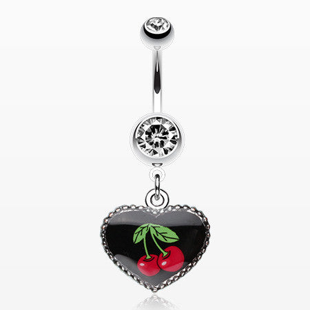 Cherry Heart Dangle Belly Ring-Clear