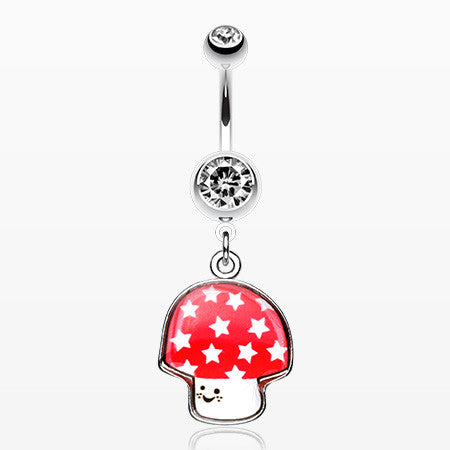 Adorable Mushroom Belly Ring-Clear