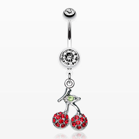 Shimmering Cherry Dangle Belly Ring-Clear