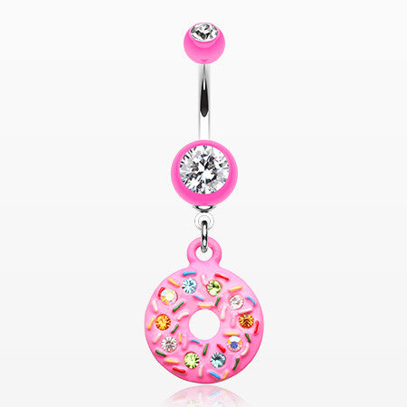 Pink Frosted Sprinkled Donut Belly Button Ring-Pink