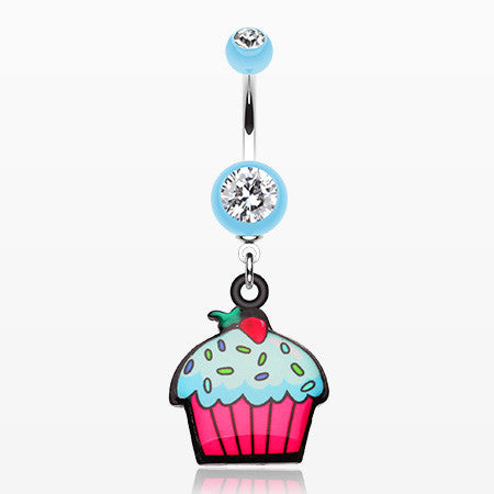 Cupcake sweets Belly Button Ring-Light Blue