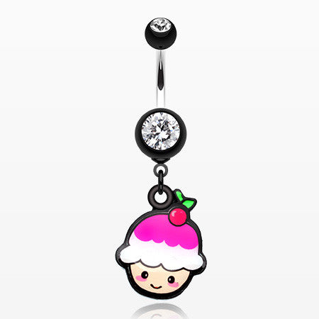 Kawaii Cherry Cupcake Belly Button Ring-Black