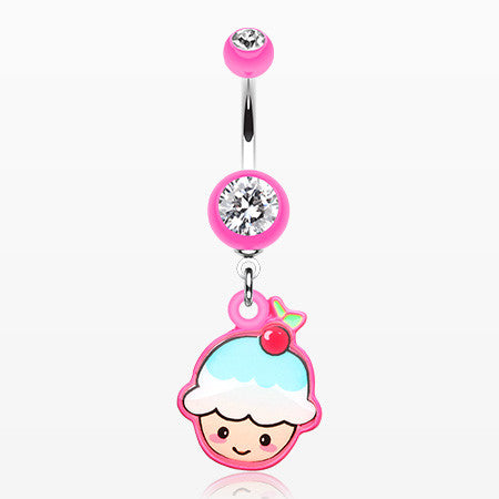 Kawaii Cherry Cupcake Belly Button Ring-Pink