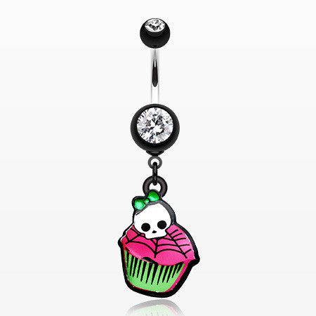 Emo Skull Cupcake Belly Button Ring-Black