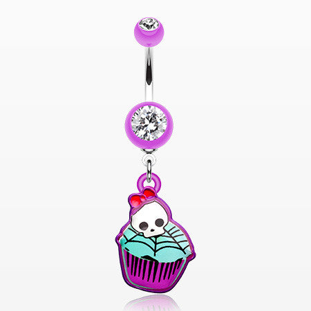 Emo Skull Cupcake Belly Button Ring-Purple